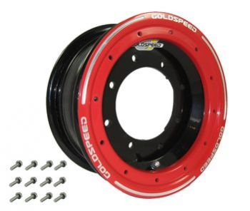 GS: 10X5.5 4/144/156 4+1.5 B BEAD LOCK BLACK - RED RING