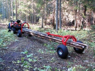 ATV log hauler with rear support part and electric winch
